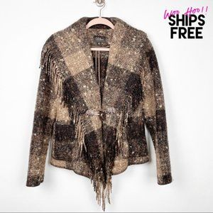 Cole Haan Collection Wool Fringe Boho Coat #0553